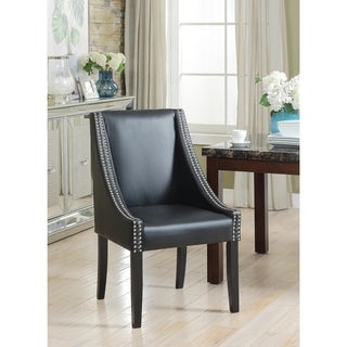 Chic Home Lincoln Silver Nailhead Trim Leather Swoop Dining Chair (Set of 2)