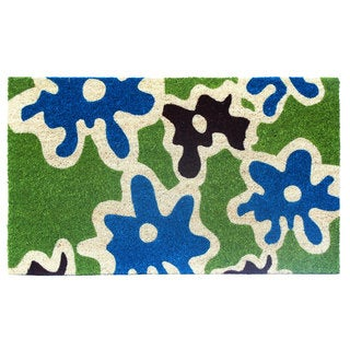 Blue and Green Abstract-print Coir Doormat