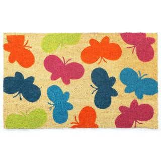 Multicolor Coir/Vinyl Butterflies Printed Doormat