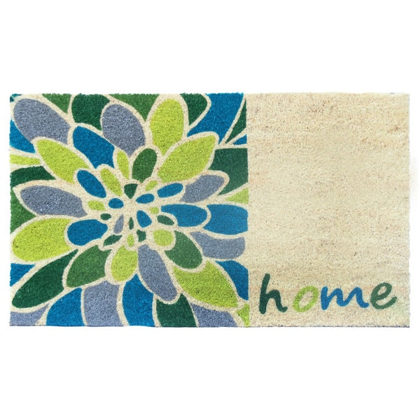 Home Blue/Green Coir/Vinyl Printed Doormat