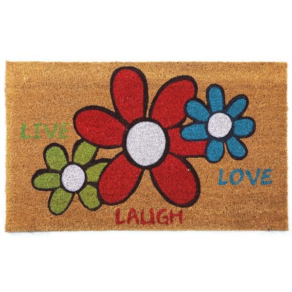 U0026#x27;Live Laugh Loveu0026#x27; Floral Printed Natural Coir Doormat