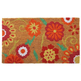 Orange/Pink Coir/Vinyl Floral Printed Doormat