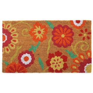 Orange/Pink Coir/Vinyl Floral Printed Doormat