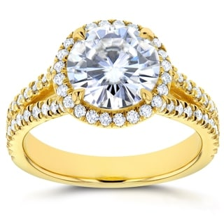 Annello by Kobelli 14k Gold 2 2/5ct TCW Round Classic Moissanite and Diamond Halo Split Shank Engage