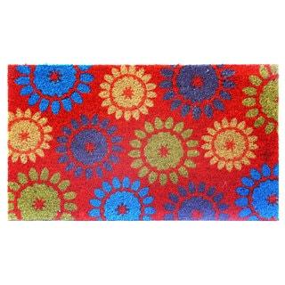 Red/Multicolor Floral-print Coir Doormat