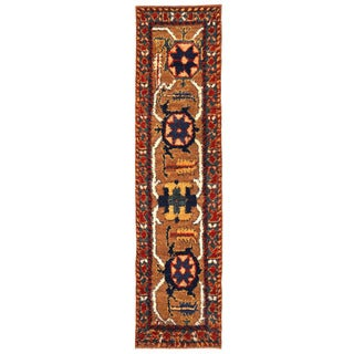 Herat Oriental Afghan Hand-knotted Gabbeh Light Brown/ Blue Wool Runner (3' x 12'2)