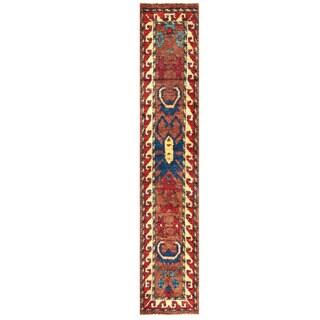 Handmade Herat Oriental Afghan Shag Gabbeh Wool Runner - 3'1 x 16'7 (Afghanistan)