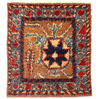 Herat Oriental Afghan Hand-knotted Wool Square Rug (3'2 x 3'6)