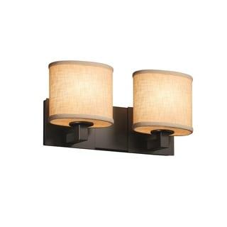 Justice Design Group Textile Modular 2-light Matte Black Bath Bar, Cream Oval Shade