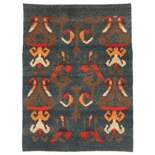 Herat Oriental Afghan Hand-knotted Gabbeh Gray/ Brown Wool Rug (5'1 x 7')