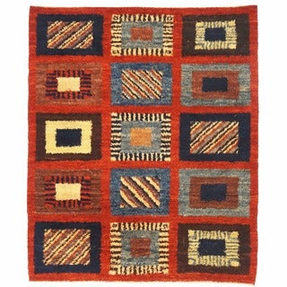 Herat Oriental Afghan Hand-knotted Gabbeh Red/ Navy Wool Rug (6'6 x 7'11)