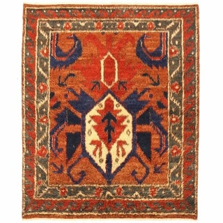 Herat Oriental Afghan Hand-knotted Gabbeh Rust/ Green Wool Rug (6'3 x 7'7)