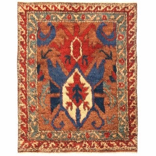 Handmade Herat Oriental Afghan Shag Gabbeh Wool Rug - 6'2 x 7'8 (Afghanistan)