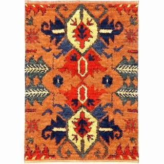 Herat Oriental Afghan Hand-knotted Gabbeh Peach/ Navy Wool Rug (6'9 x 9'8)