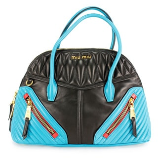 Miu Miu Black And Blue Leather Women's Shoulder Bag