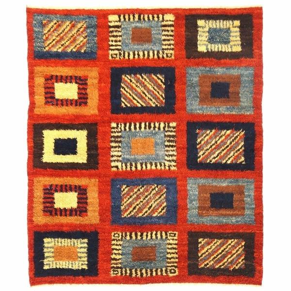 Handmade Herat Oriental Afghan Shag Gabbeh Wool Rug - 6'7 x 7'9 (Afghanistan)