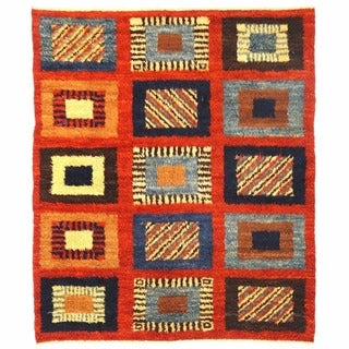 Herat Oriental Afghan Hand-knotted Gabbeh Rust/ Navy Wool Rug (6'7 x 7'9)