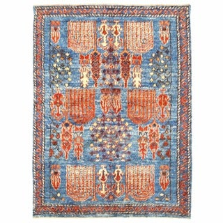 Herat Oriental Afghan Hand-knotted Gabbeh Light Blue/ Blue Wool Rug (7'1 x 9'6)