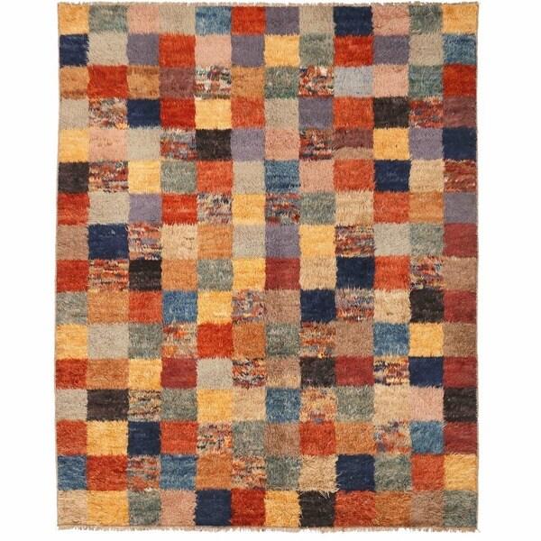 Herat Oriental Afghan Hand-knotted Shag Gabbeh Wool Rug (7'10 x 10')