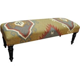 Handmade Herat Oriental Indo Wool & Jute-upholstered Wooden Bench