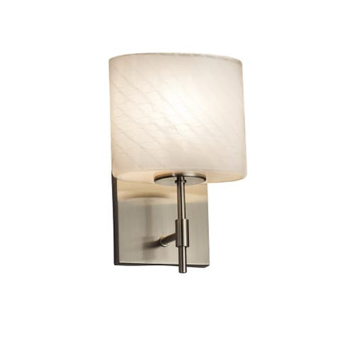 Justice Design Group Fusion Union 1-light Brushed Nickel Wall Sconce, Weave Oval Shade
