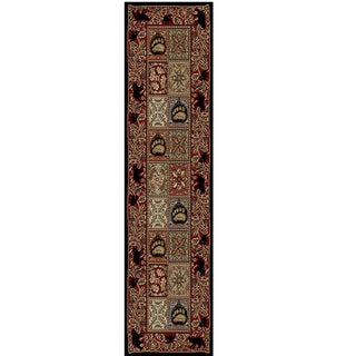 "Rustic Lodge Persian Style Bear Cabin Area Rug (2'3"" x 7'7"")"