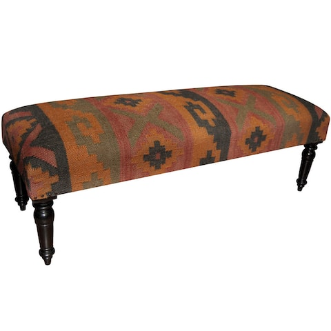 "Handmade Indo Wool amd Jute Upholstered Wooden Bench (India) - 48"" L x 16"" W x 16"" H"