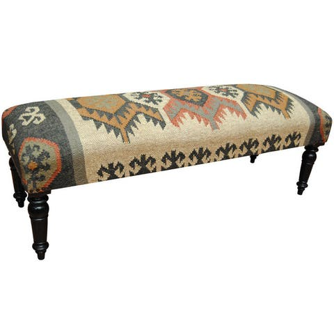 "Handmade Indo Wool and Jute Upholstered Wooden Bench (India) - 48"" L x 16"" W x 16"" H"