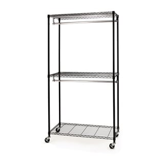 Seville Classics Chrome and Black 78-inch Closet Organizer with Cover