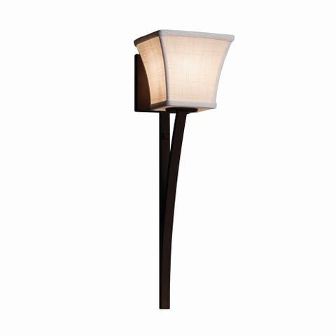 Justice Design Textile Sabre 1-light Dark Bronze Wall Sconce, White Square Flared Shade
