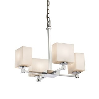 Justice Design Group Fusion Tetra 4-Light Chrome Chandelier, Opal Glass