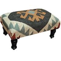 Handmade Herat Oriental Indo Wool & Jute Kilim Upholstered Wooden Stool (India)
