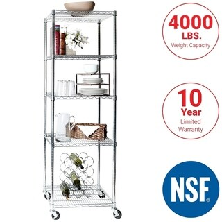 24 in W x 18 in D x 72 in H, UltraDurable Commercial-Grade 5-Tier NSF-Certified Wire Shelving with Wheels