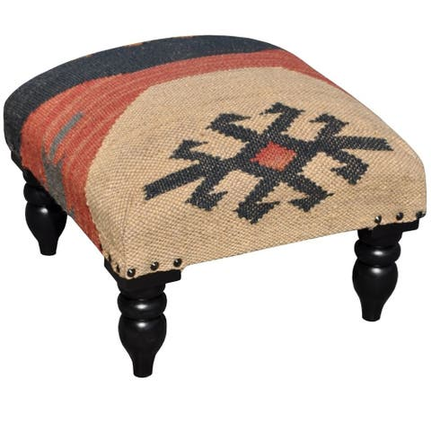 "Handmade Indo Wool and Jute Kilim Wood Stool (India) - 16"" x 16"" x 12"""