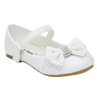 Jelly Beans Girls' White Faux Leather Mary Jane Bow Shoes