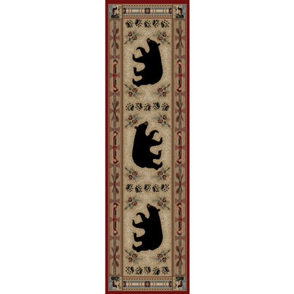 Rustic Lodge Red Bear Cabin Area Rug