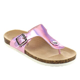 Jelly Beans Girls' Metallic Faux Leather Flip Flop Sandals