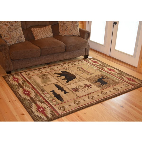 Rustic Lodge Bear Cabin Area Rug