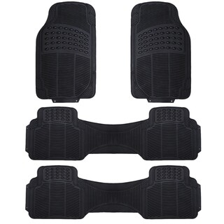 Zone Tech Black Rubber 4-piece Universal Fit All-weather Heavy-duty Vehicle Floor Mats