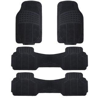 Zone Tech Black Rubber 4-piece Universal Fit All-weather Heavy-duty Vehicle Floor Mats
