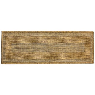 "Berrnour Home Summer Collection Brown Bordered Design Indoor/Outdoor Jute Backing Stair Treads (8.5"" x 26.6"")"