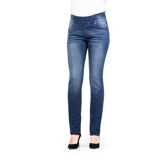Bluberry Women's Charlie Blue Plus-size Straight-leg Denim Pants