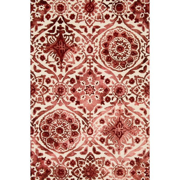 Hand-hooked Bella Wine Wool Rug (3'6 x 5'6)