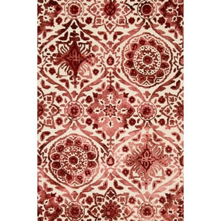 Hand-hooked Bella Wine Wool Rug (2'3 x 3'9)