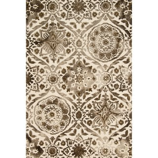 Hand-hooked Bella Taupe Wool Rug (5'0 x 7'6)