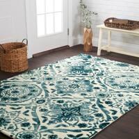 Hand-hooked Bella Indigo Wool Rug (5'0 x 7'6)