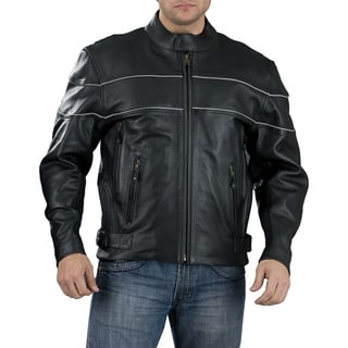 Men's Side Stretch Panel Black Leather Jacket With Reflective Piping