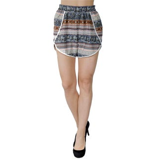 Women's Multicolor Polyester Summer Fashion Casual Beach Dress High Waist Shorts with Elastic Waistband