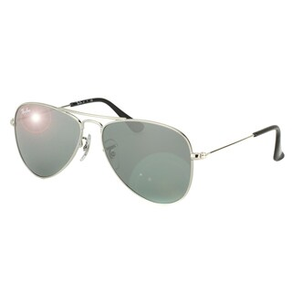 Ray-Ban Boys' RJ 9506 212/6G Shiny Silver Metal Aviator Junior Sunglasses with Silver Mirror Lens