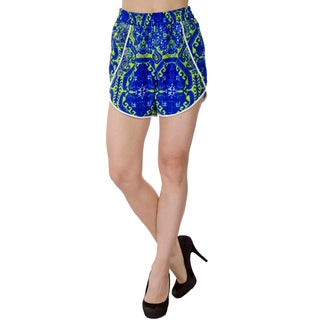 Women's Blue Polyester Summer Fashion Casual Beach High-waist Dress Shorts with Elastic Waistband